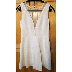 Sparkly unique BCBGMAXAZRIA white dress size 6